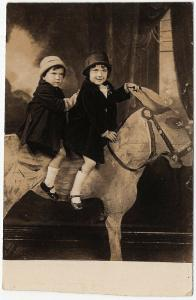 1927 RPPC Brother & Sister Rucker on Wooden Donkey Jackass Real Photo Postcard