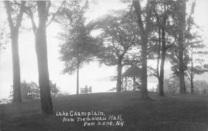 Port Kent New York~Lake Champlain (from Trembleau Hall)~Gazebo & Chairs~30s RPPC