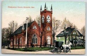 Hicksville Ohio~Presbyterian Church~White Horse Carriage~Green House~c1910