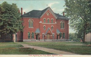 SUFFIELD,  Connecticut, PU-1909; Town Building and Post Office