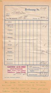 Gasthof Alte Post Hotel Schonberg Tirol 1953 Receipt