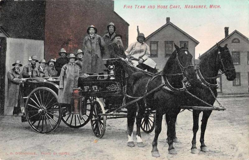 Negaunee Michigan Fire Department and Horse Cart Vintage Postcard JE229664