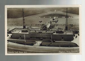 1930s Berlin Germany Real Picture Postcard Tempellhof Airport Flughafen
