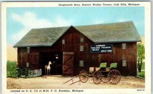 Brooklyn, Michigan Postcard Stagecoach Barn, Walker Tavern Irish Hills Linen