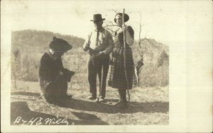 Man Woman & Chained Bear c1922 Real Photo Postcard
