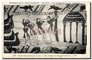 Old Postcard Tapestry of Queen Mathilde Bayeux ships One draws the sea