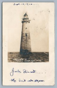 MINOTS LEDGE MA LIGHTHOUSE 1905 ANTIQUE REAL PHOTO POSTCARD RPPC