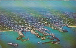 Massachusetts Nantucket Aerial View Of Docks and Waterfront 1974