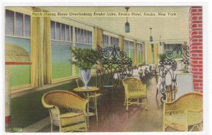 Porch Dining Room Keuka Hotel Keuka New York linen postcard