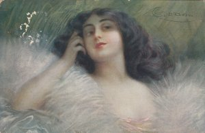 AS: Portrait of lovely brunette daydreaming, PU-1916