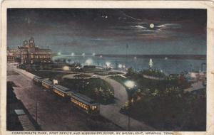 Confederate Park, Post Office And Mississippi River, By Moonlight, MEMPHIS, T...