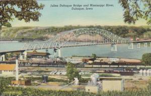 Iowa Dubuque Julien Dubuque Bridge and Mississippi River Curteich