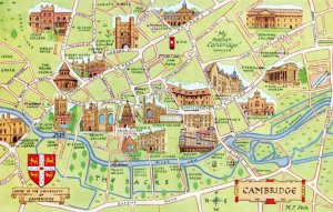 Cambridgeshire Map Postcard, Cambridge, showing places of interest GA7