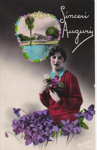 Beautiful Lady with Flowers Sinceri Auguri Real Photo made in Italy