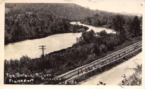 Frankfort Michigan~Road & Railway Tracks Parallel the Betsie River RPPC 1940s