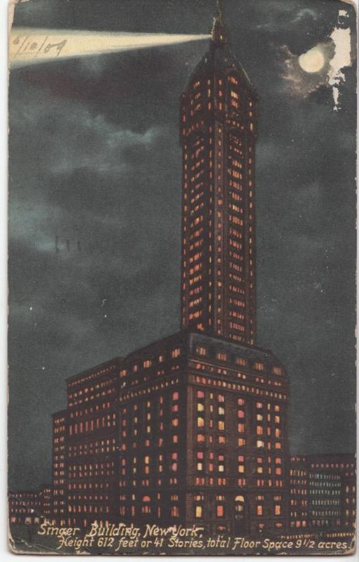 Singer Building, New York, 1909 used Postcard
