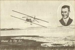 Pioneer aviation Biplane Pilot Atwood c1910 Postcard