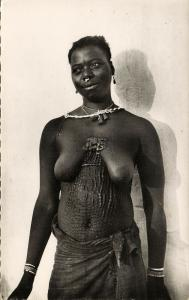 senegal, Native Nude Woman Cayman Tattoo, Scarification (1950s) RPPC Postcard
