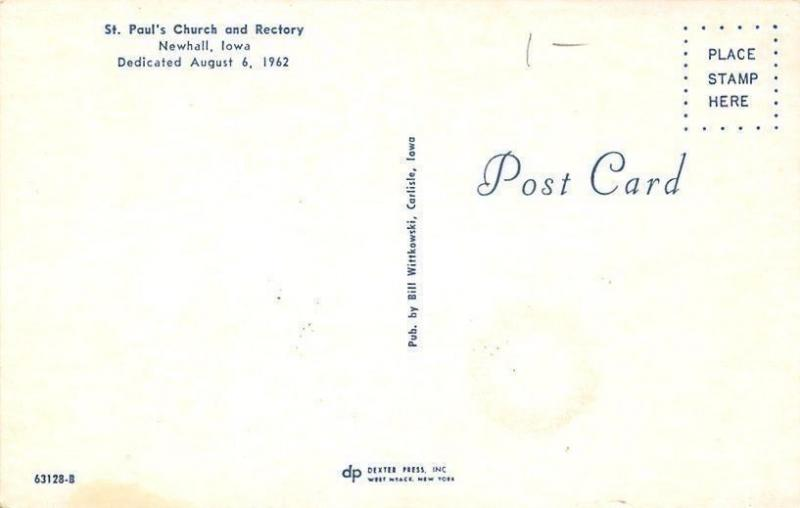 Newhall Iowa~St Pauls Church and Rectory~1962 Postcard