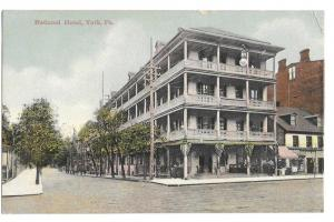 York PA National Hotel Telephone Poles Vintage Postcard