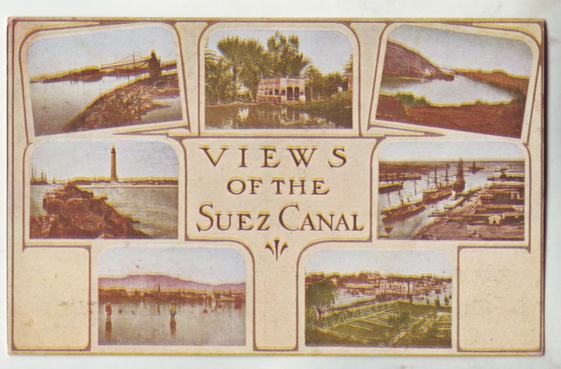 P1210 old postcard unused multiview of the suez canal egypt