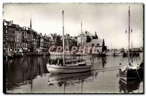Modern Postcard Honfleur Entree of a Yacht in the old port Boats
