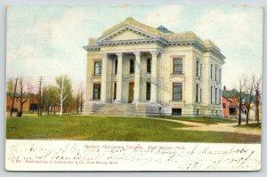 Port Huron Michigan~Modern Maccabee Temple~Houses Behind~1908 Postcard