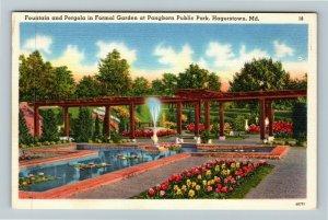 Hagerstown MD-Maryland, Pangborn Public Park, Fountain, Garden, Linen Postcard