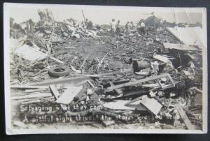 Salvaging What They Can After Storm Leedey Oklahoma 1947  Real Photo Postcard
