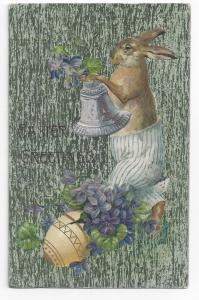 Easter Dressed Rabbit Silver Bell Violets Vintage Postcard