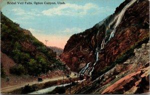 Bridal Veil Falls,  Canyon, Utah, POSTED Vintage Linen Postcard
