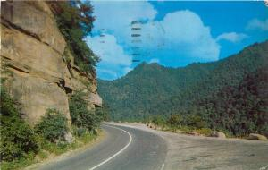 Chimney Tops Rocky Point Turn Great Smoky Mountains National Park Postcard 1950s