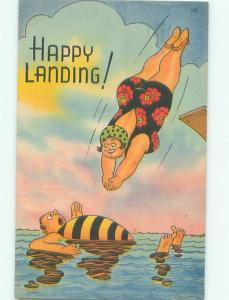 Linen Comic FAT WOMAN DIVING INTO WATER AC0153