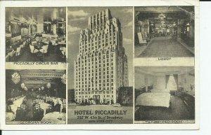 Hotel Piccadilly 45th Street Lumitone 1951 New York City Postcard