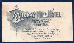 VICTORIAN TRADE CARD Murray Hill Hotel 1893 World's Fair