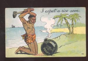BLACK AMERICANA BLACK MAN SLEDGE HAMMER BOMB VINTAGE COMIC POSTCARD 1908