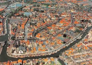 Netherlands Sneek in Vogelvlucht Aerial view Harbour Boats Bateaux Port