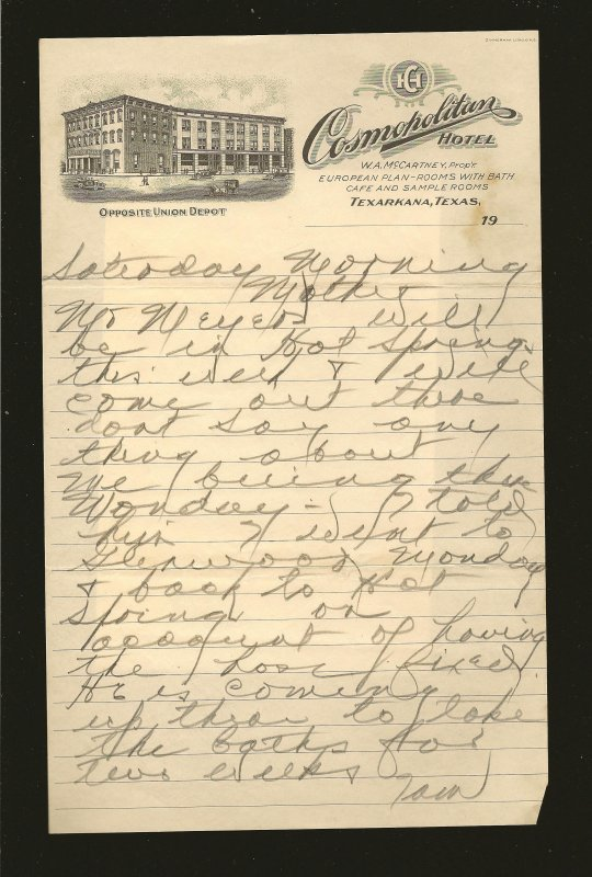 Cosmopolitan Hotel Texarkana Texas 1920's Vignetted Hotel Stationary Used 9x6 In
