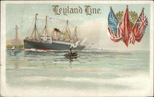 Leyland Line Steamship Flags & Lighthouse Used 1920 Postcard