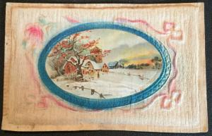 Postcard Used Embossed Tissue? Hand Made? Winter scene MO LB