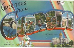 Greetings From Georgia Large Letter Big Letter Vintage Postcard Linen