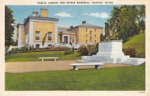 Bangor Maine~Public Library & Pierce Memorial~White Benches~1940s Linen Postcard