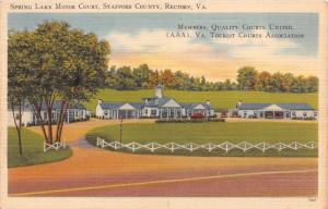 RECTORY STAFFORD COUNTY VIRGINIA~SPRING LAKE MOTOR COURT~ROUTE 1  POSTCARD 1940s