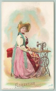 Singer Mfg Co~Florentine Lady at Sewing Machine~Italy~1892 Victorian Trade Card