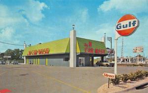 Tampa FL Big W Car Wash Gulf Gas Station Busch Gardens Postcard