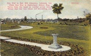 F60/ Lebanon Indiana Postcard c1910 Sun Dial Oak Hill Cemetery