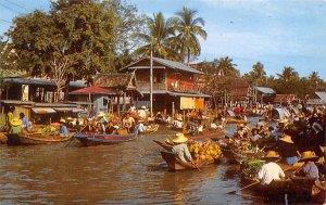 Scenery of the Floating Market Bangkok Thailand Unused