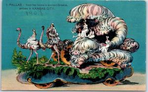 1908 PRIESTS OF PALLAS Parade Float Postcard 1 - PALLAS Ostriches Queen KC MO