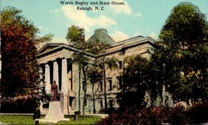 North Carolina Raleigh Worth Bagley and State House 1913