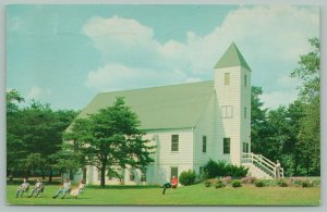 Sandy Cove Maryland~Prayer Chapel~People in Chairs on Lawn~1970 Postcard